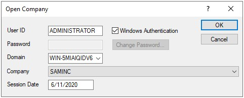 Sign on screen showing windows authentication