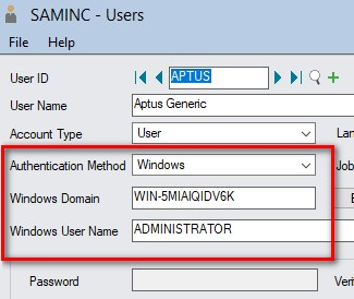 Sage 300 user setup screen